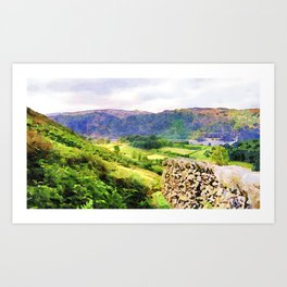 Dry stone wall overlooking a valley, Lake District, UK. Watercolour painting. Art Print