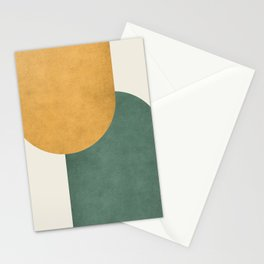 Halfmoon Colorblock 2 - Gold Green  Stationery Cards