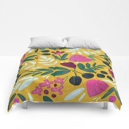 Mustard bouquet Comforters