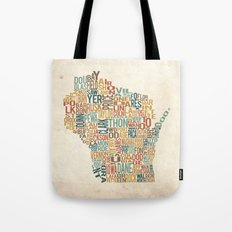 Wisconsin by County Tote Bag