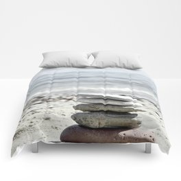 Balancing Stones On The Beach Comforters