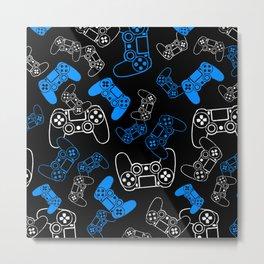 Video Games Blue on Black Metal Print