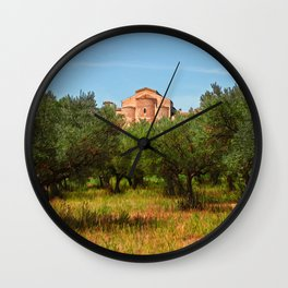 Medieval Abbey among olive trees in Italy Wall Clock