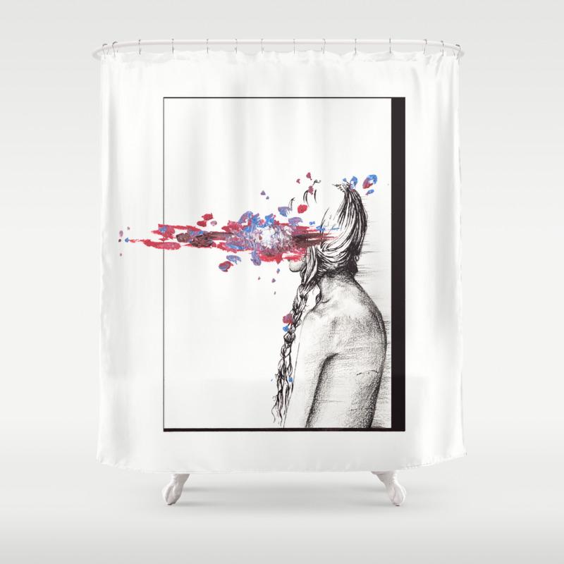 Eating Hooks Shower Curtain