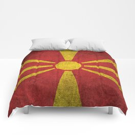 Old and Worn Distressed Vintage Flag of Macedonia Comforters