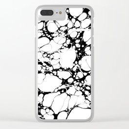 Black and White bubbles Spilled Ink Marbled Paper Clear iPhone Case