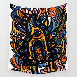 Pre Hispanic Graffiti Mystic Art by Emmanuel Signorino Wall Tapestry