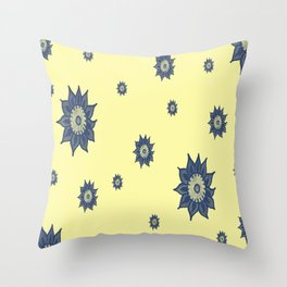 Blue Flowers on Yellow Throw Pillow
