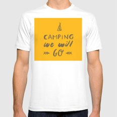 Camping we will go MEDIUM Mens Fitted Tee White
