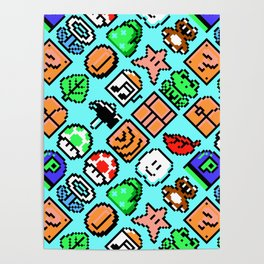 Super Mario Bros. 3 (NES) pattern (blue sky) Poster