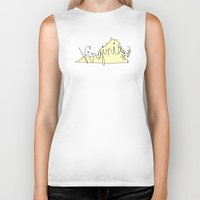 virginia Biker Tanks featuring Virginia - Yellow by Oh Happy Roar - Emily J. Stivers