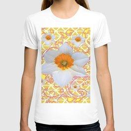 WHITE DAFFODILS DELICATE VIOLET SCROLLS ART  PATTERN T-shirt