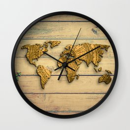 Vintage World Map Wall Clock