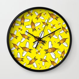 Bees on Yellow Wall Clock
