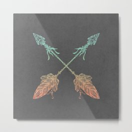 Tribal Arrows Turquoise Coral Gradient on Gray Metal Print