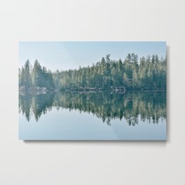 Forest reflection on a lake Metal Print