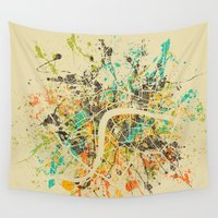 london map Wall Tapestries featuring LONDON MAP by Nicksman