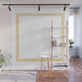 Triple Line in Golden Yellow on White Wall Mural