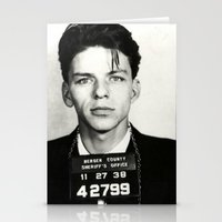 frank sinatra Stationery Cards featuring Frank Sinatra Mug Shot  by All Surfaces Design