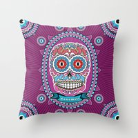 mexican Throw Pillows featuring Mexican Skull by Xonomitl