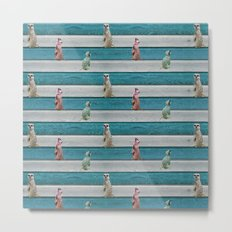Meercat Beach Stripes Metal Print
