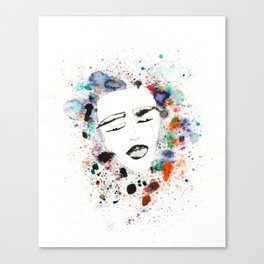 Sleepy Face in Spatter Pillow Canvas Print