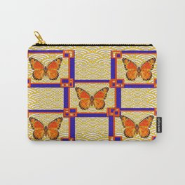Decorative Monarch Butterflies Lapis Blue Geometrics Design Carry-All Pouch