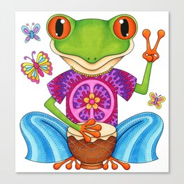 Peace Frog - Colorful Hippie Frog Art by Thaneeya McArdle Canvas Print