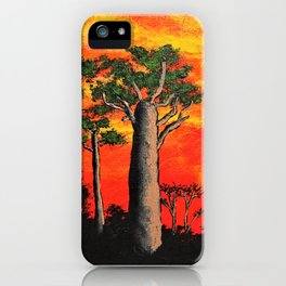 Baobabs of Madagascar by Mike Kraus - africa trees landscapes red orange black nature beautiful iPhone Case