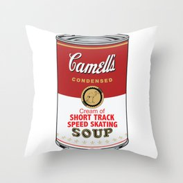 Camell's Soup CREAM OF SHORT TRACK SPEED SKATING Pop Art Throw Pillow