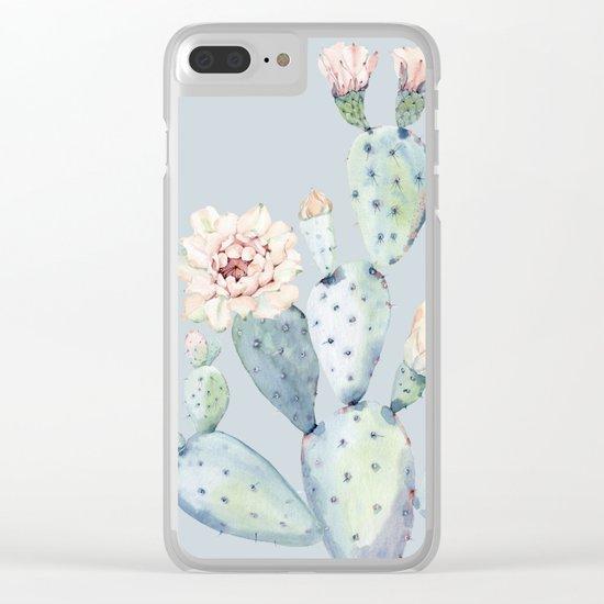 Prettiest Rose Cactus Blue Clear iPhone Case
