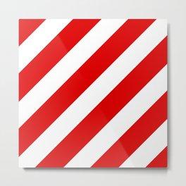Stripes Diagonal Red & White Metal Print