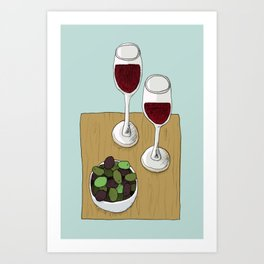 Wine and Olives Art Print