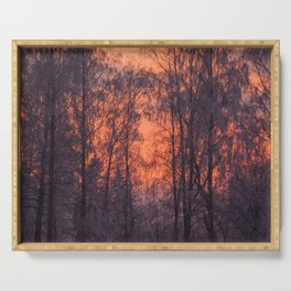 Winter Scene - Frosty Trees Against The Sunset #decor #society6 #homedecor Serving Tray