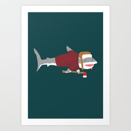 Shark LumberJack Art Print
