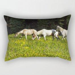 Horses In a Field Rectangular Pillow