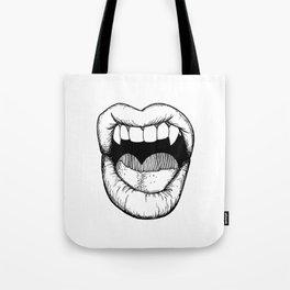 Vamp Lip in Black & White Tote Bag