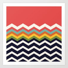 Retro Chevrons (navy and salmon) Art Print