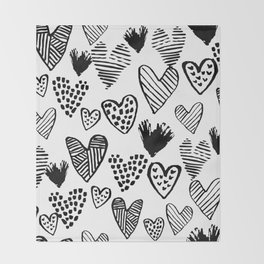 Hearts black and white hand drawn minimal love valentines day pattern gifts decor Throw Blanket