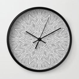 White Mandala on Grey Linen Wall Clock