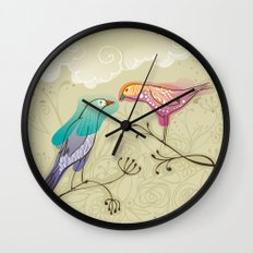 couple of beautiful love birds Wall Clock