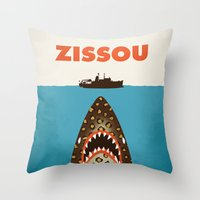 steve zissou Throw Pillows featuring Zissou by Wharton