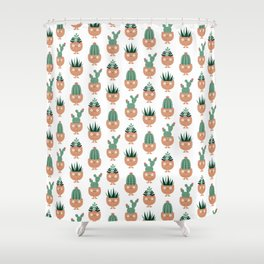 Cute terracotta pots with succulent hairstyles Shower Curtain