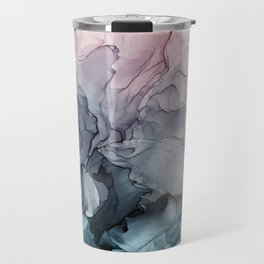 Blush and Payne's Grey Flowing Abstract Painting Travel Mug