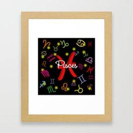 Pisces Floating Zodiac Framed Art Print