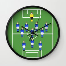 Football Soccer sports team in blue Wall Clock