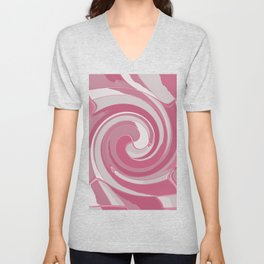 Spiral in Pink and White Unisex V-Neck