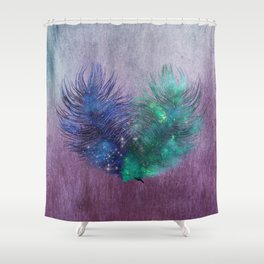 2 Feathers Watercolor Shower Curtain