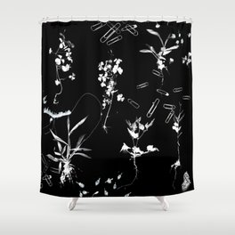 Plants & Paper clips Photogram Shower Curtain