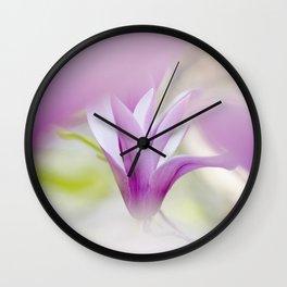 Pink liliflora magnolia flower Wall Clock